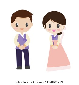 beautiful bride and groom couple in wedding dress holding hands on light pink background isolated EPS10 vector illustration