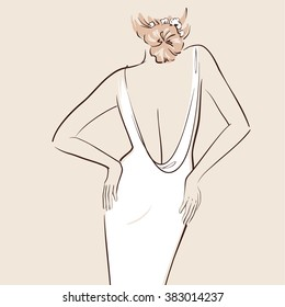 Beautiful bride hand drawn. Woman in a wedding dress. View from the back. Line art. Vector illustration eps 10