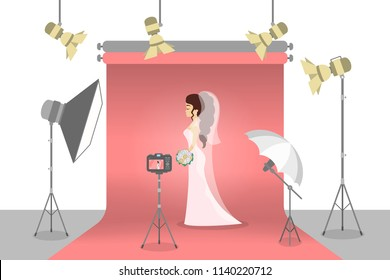 Beautiful bride in the photostudio making photoshoot for memory. Happy woman in white wedding dress with various equipment around such as softbox and camera. Flat vector illustration