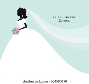 Beautiful bride silhouette on pastel blue. Can be used for save the date, wedding, bridal shower invitation.