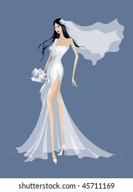 a beautiful bride in white dress waiting to marry
