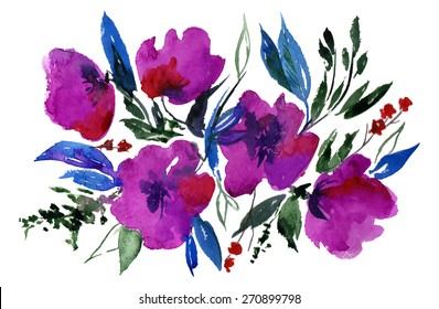 beautiful bright bouquet of abstract flowers, watercolor and brush on paper texture - hand drawn vector illustration.