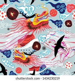 Beautiful bright Chinese pattern with dragons and swallows on a blue background with clouds. Template for wallpaper, poster or magazine.