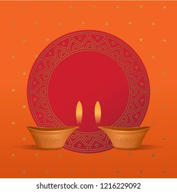 Beautiful and bright colored empty template for Diwali message. Round vector border with traditional Diwali lamps. Deewali Greeting unit or plaque to place text.