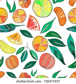 Beautiful bright colorful delicious tasty yummy ripe juicy lovely orange summer autumn dessert slices of oranges and mandarins pattern vector illustration. Perfect for textile, wallpapers, cards