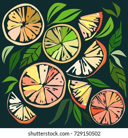 Beautiful bright colorful delicious tasty yummy ripe juicy lovely orange summer autumn dessert slices of oranges and mandarins pattern on black background vector illustration