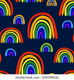Beautiful bright colorful different rainbows isolated on dark blue background. Childish cute seamless pattern. Vector simple flat graphic hand drawn illustration. Texture.
