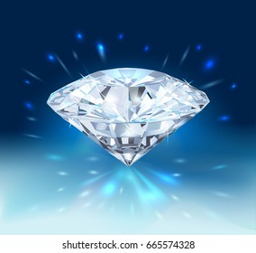 Beautiful bright diamond  isolated on blue background. Vector illustration.