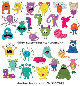 Beautiful bright flat monsters. Vector illustration of funny characters. Seth consists of thirty monsters.