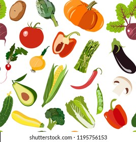 Beautiful bright graphic art vegetarian healthy  pattern of organic vegetables: potato, tomato, beetroot, shallot, eggplant, corn, carrot vector hand sketch. Perfect for greetings card, textile, menu