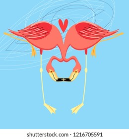 Beautiful bright greeting card with flamingos in love on a blue background