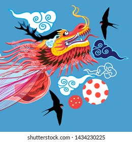 Beautiful bright illustration of a Chinese dragon and clouds. Design for postcard or magazine.