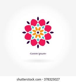 Beautiful bright juicy circular company logo, mark, emblem, element for boutique, sweets. Simple geometric mandala logotype. Business, invitations. Kaleidoscope flower.