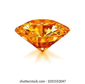Beautiful bright orange diamond  isolated on white background. Vector illustration.