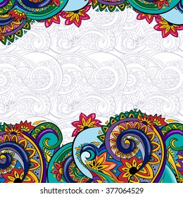 Beautiful bright  pattern. Background with flowers. Ethnic ornament. Template frame design for card. You can place your text in the empty place.