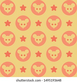 Beautiful bright pattern.Vector illustrations with mice, circles and stars. Cartoon cute rat, symbol of 2020. Can be used in printing, textile, wrapping, web-design.