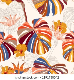 Beautiful bright Seamless pattern vector tropical floral . Modern exotic  jungle and plants illustration in hand drawn style design for fashion,fabric,wallpaper and all prints on  white background
