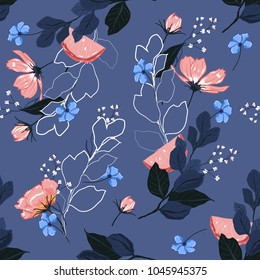 Beautiful  bright Summer blooming garden outline and hand painting flowers many kind of floral in seamless pattern vector illustration on stylish blue background