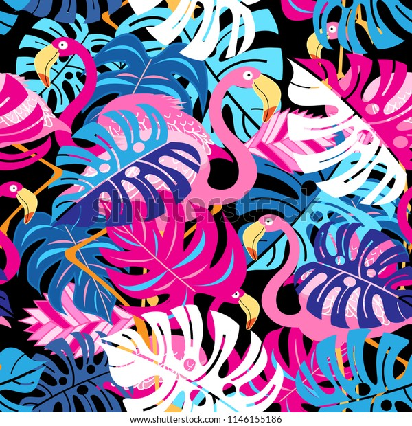 Beautiful bright tropical pattern of pink flamingos and leaves on a blue background