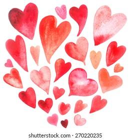 Beautiful bright watercolor set lovers heart. Vector illustration