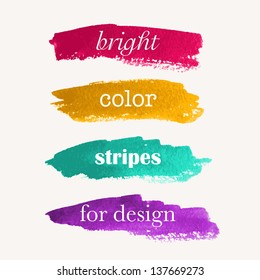 Beautiful bright watercolor stripes. Vector illustration