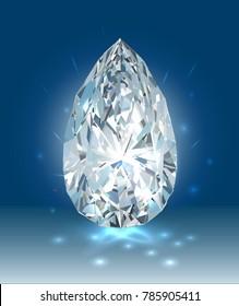 Beautiful bright white diamond on a blue background. Vector illustration.