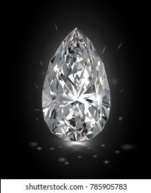Beautiful bright white diamond on a black background. Vector illustration.
