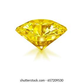 Beautiful bright yellow diamond  isolated on white background. Vector illustration.
