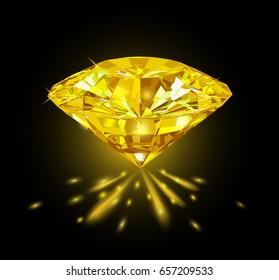 Beautiful bright yellow diamond  isolated on black background. Vector illustration.