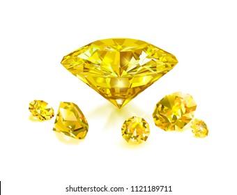 Beautiful bright yellow diamonds  isolated on white background. Vector illustration.