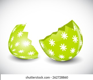 Beautiful Broken Easter Egg Vector Illustration EPS10
