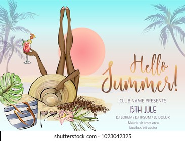 Beautiful brown girl with cocktail relax on the beach, hello summer beach party banner with woman, sea background with palm and sunset, invitation to nightclub, hand drawn vector illustration art
