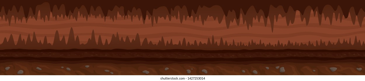 Beautiful brown unending underground landscape with mystic dark cave and road
