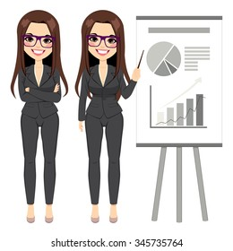 Beautiful brunette businesswoman wearing dark suit pointing flip chart with different graphics