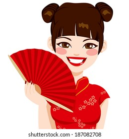 Beautiful brunette chinese woman holding red fan smiling happy