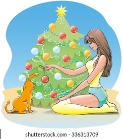 Beautiful brunette girl with long hair playing with cute cat sitting on the floor in front of Christmas tree with garlands, vector