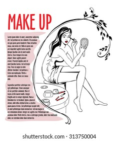 """Beautiful brunette girl with red lips makes make-up on eyes. Black and white vector fashion illustration with title text """"Make up"""""""
