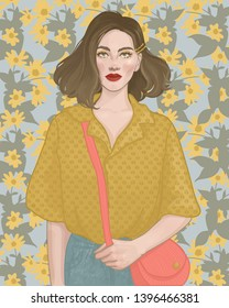 beautiful brunette girl with red lipstick on the background of summer bright yellow flowers of Jerusalem artichoke