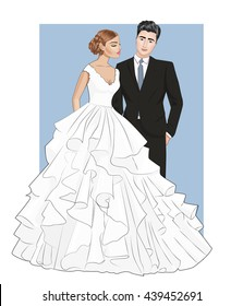 Beautiful brunette groom in black leisure suit and feminine brunette bride with closed eyes and smile on face in stylish wedding dress ,vector