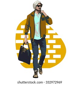 Beautiful Brunette Men a hat. Beauty Model Male. Hairstyle.  Fashionable men. Freehand drawing vector. Can be used for banners, cards, covers, etc. Color illustration about fashion street style.