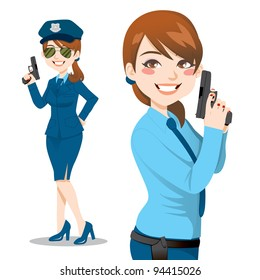 Beautiful brunette police woman holding a handgun ready to enforce law and stop crime