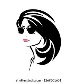 beautiful brunette woman with gorgeus black hair wearing sunglasses vector portrait