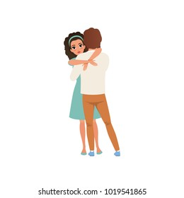Beautiful brunette woman hugging her man, embraces of a loving couple vector Illustration