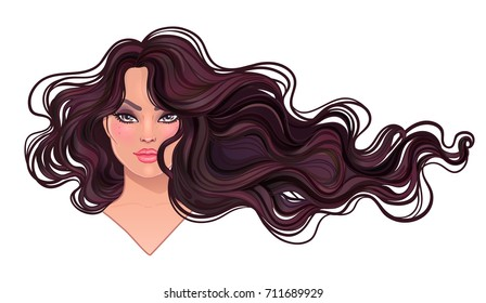 Beautiful brunette woman with long wavy hair flowing in the wind. Hair salon concept. vector illustration isolated. Portrait of a young Caucasian woman. Glamour Fashion concept.