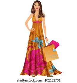 Beautiful brunette woman in summer maxi dress with shopping bags. Isolated vector illustration.