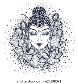 Beautiful Buddha face over high-detailed decorative lotus flowers. Graphic vector illustration isolated on white. Spiritual and religious motives. Coloring book page for adults