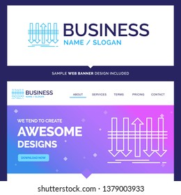 Beautiful Business Concept Brand Name Arrow, business, distinction, forward, individuality Logo Design and Pink and Blue background Website Header Design template. Place for Slogan / Tagline. Exclusiv