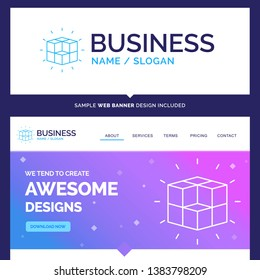 Beautiful Business Concept Brand Name box, labyrinth, puzzle, solution, cube Logo Design and Pink and Blue background Website Header Design template. Place for Slogan / Tagline. Exclusive Website bann