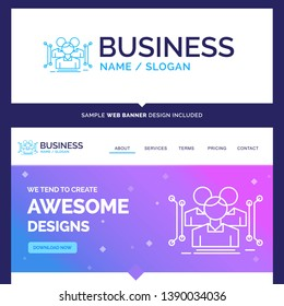 Beautiful Business Concept Brand Name Anthropometry, body, data, human, public Logo Design and Pink and Blue background Website Header Design template. Place for Slogan / Tagline. Exclusive Website ba