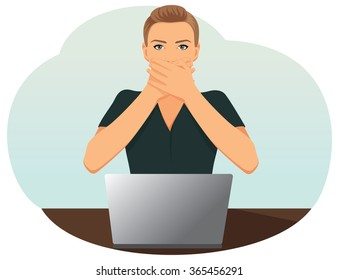 Beautiful business woman covering with hands her mouth. See no evil, hear no evil, speak no evil.